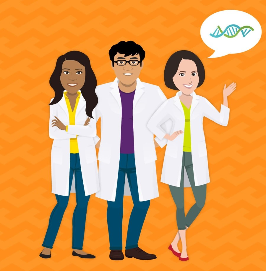 illustration of three scientists wearing white coats against an orange background