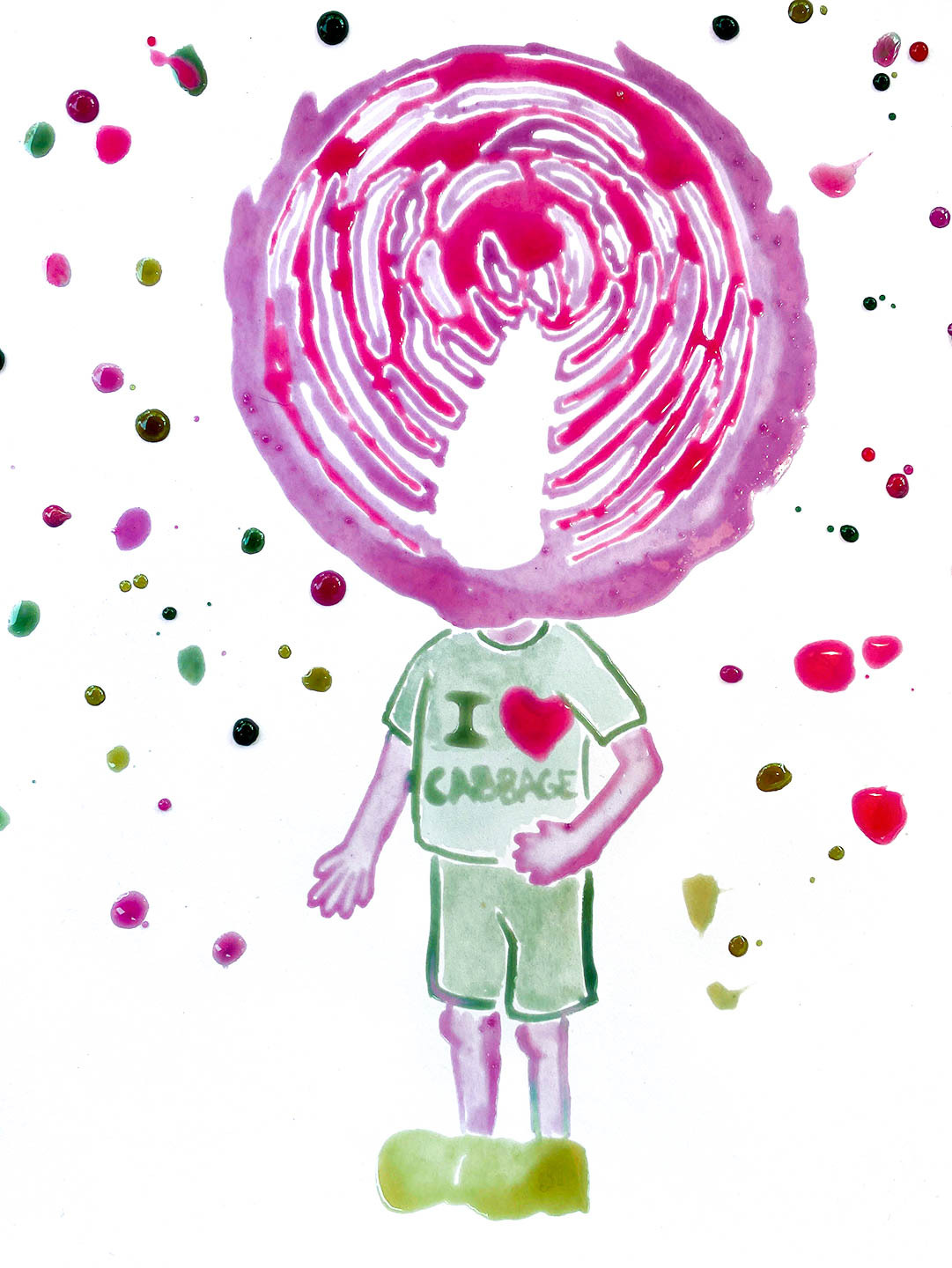 Watercolor of child with a cabbage for a head