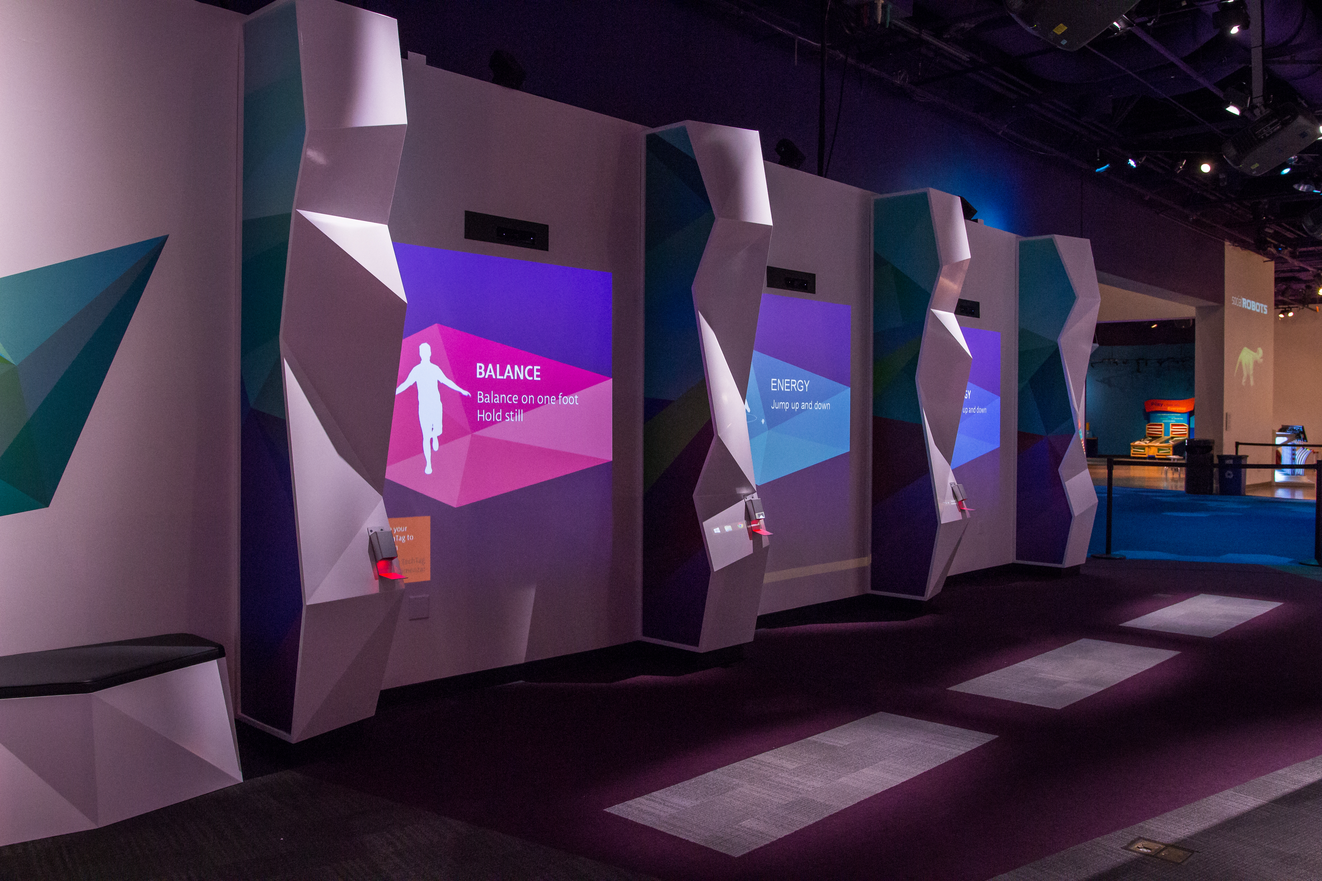Body Moves exhibit showing three interactive screens
