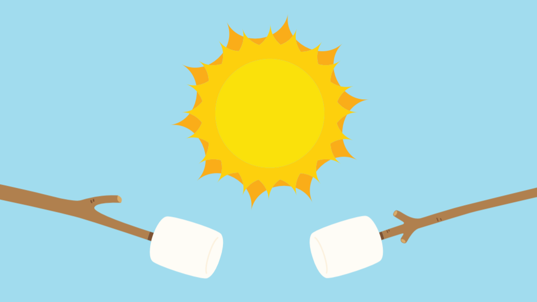 A cartoon of marshmallows on sticks being cooked by the sun.